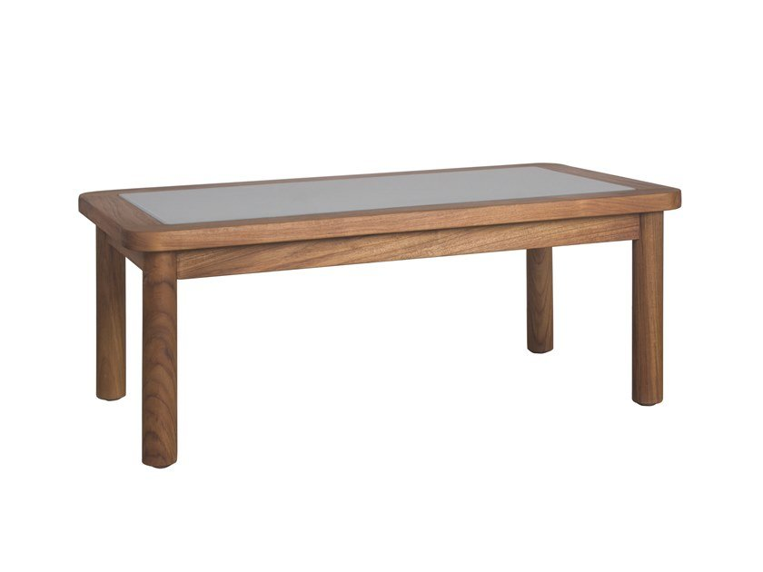 Rectangular wood and glass garden side table RING | Rectangular coffee table by Il Giardino di Legno