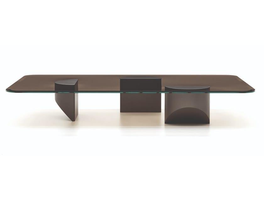 Low rectangular glass coffee table WEDGE | Rectangular coffee table by Minotti