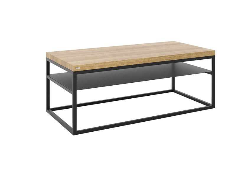 Rectangular steel and wood coffee table with integrated magazine rack MALMO | Rectangular coffee table by take me HOME
