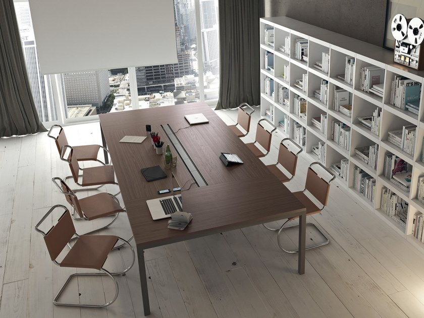 Rectangular meeting table with cable management YARD | Rectangular meeting table by Martex