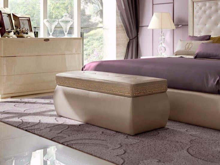 Upholstered rectangular leather pouf STARDUST   Rectangular pouf by Turri
