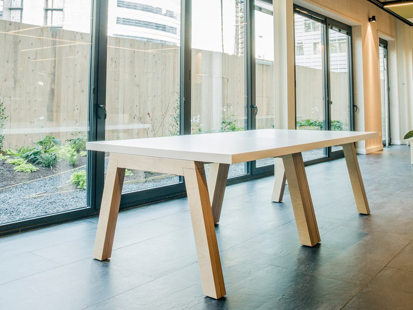 Melamine-faced chipboard table MODULE   Rectangular table by Manganèse Éditions