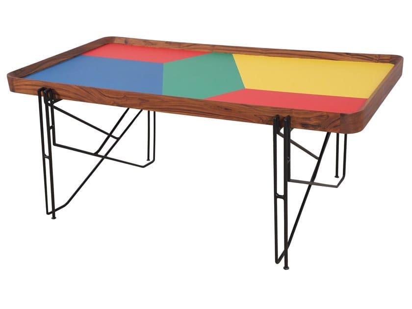 Rectangular solid wood and metal table SAARANG   Rectangular table by ALANKARAM