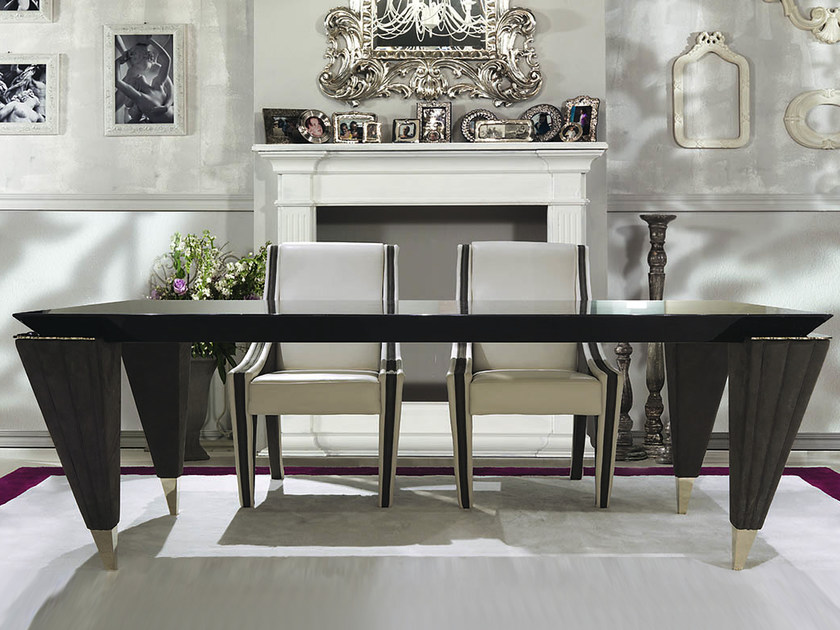Lacquered rectangular wooden table ORION | Rectangular table by Turri