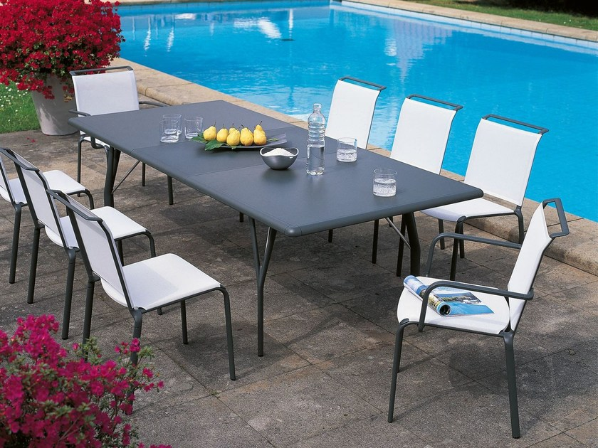 Rectangular aluminium garden table ATLANTIS | Rectangular table by Unopiù