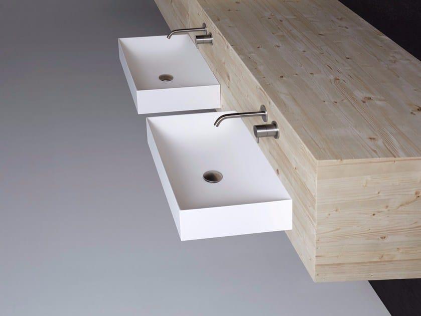 Rectangular wall-mounted Flumood® washbasin STRATOS | Rectangular washbasin by Antonio Lupi Design
