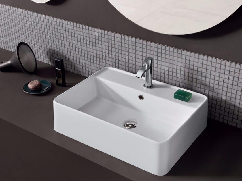 Countertop rectangular ceramic washbasin SEMPLICE | Rectangular washbasin by Nic Design