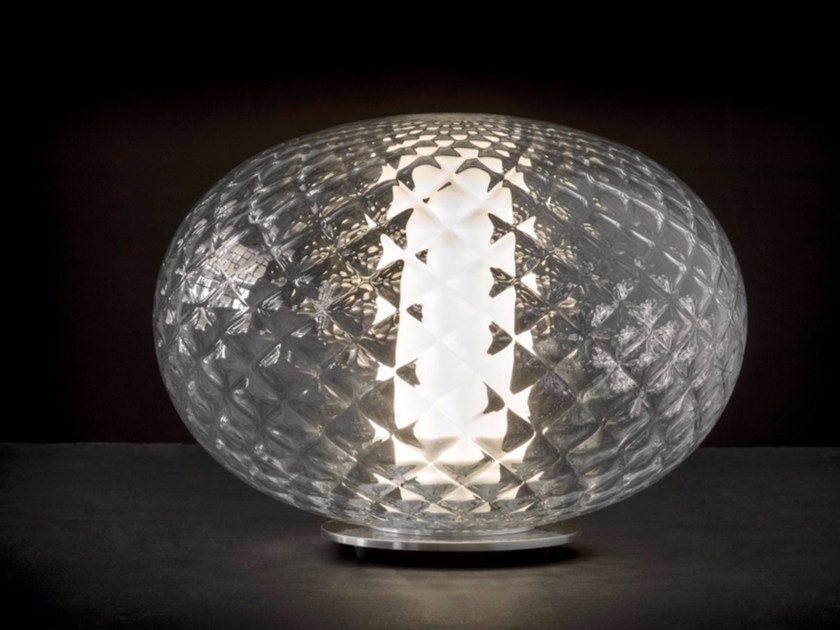 LED glass and aluminium table lamp RECUERDO - 284 by Oluce
