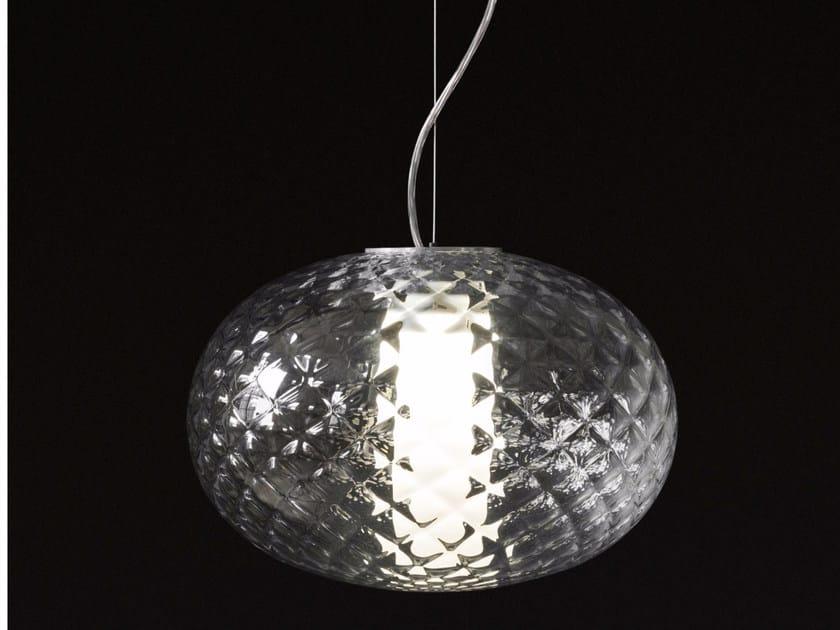 LED glass and aluminium pendant lamp RECUERDO - 484 by Oluce