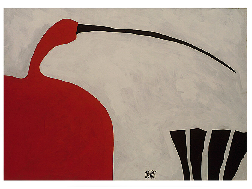 Paint oil on wood RED IBIS by Mirabili