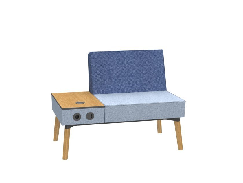 1,5-seater bench with electrification REEFS | Bench seating with electrical outlets by Dauphin