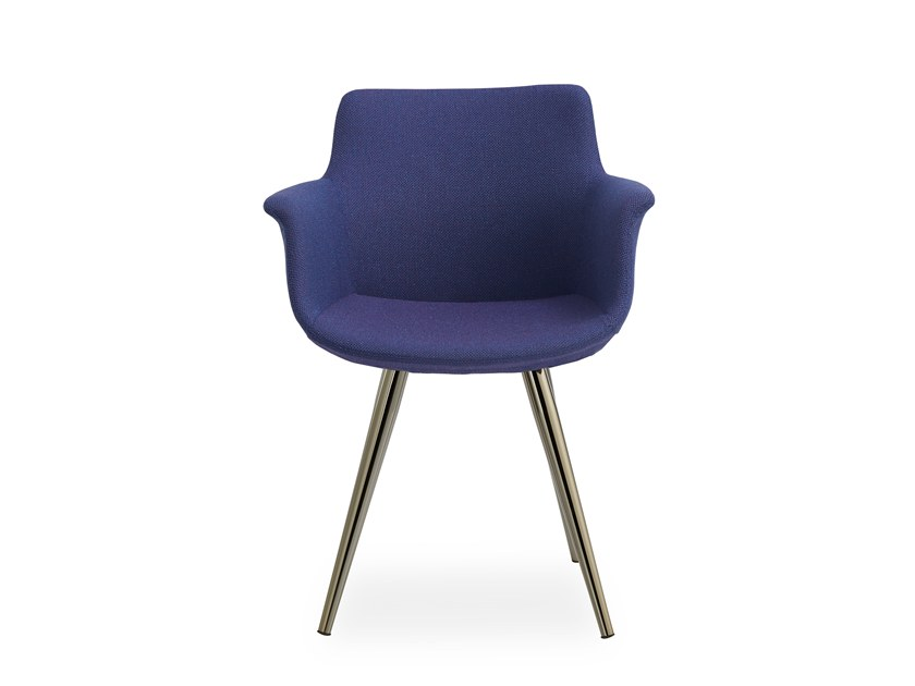 Fabric chair with armrests REGO CONIC METAL by B&T Design