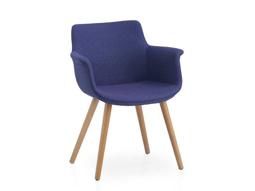 Fabric chair with armrests REGO CONIC WOOD by B&T Design