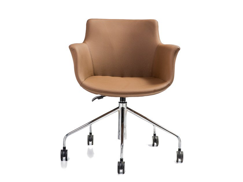 Swivel leather chair with armrests with casters REGO | Leather chair by B&T Design