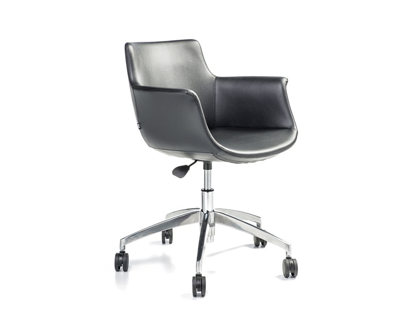 Leather task chair with 5-Spoke base with armrests REGO OFFICE | Leather task chair by B&T Design