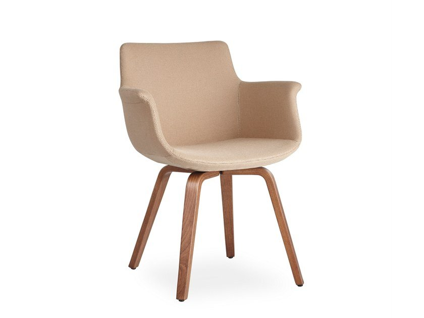 Fabric chair with armrests REGO PLYWOOD   Fabric chair by B&T Design