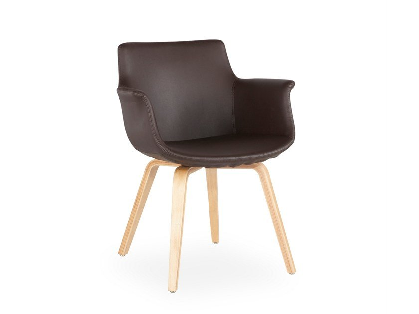 Leather chair with armrests REGO PLYWOOD | Leather chair by B&T Design