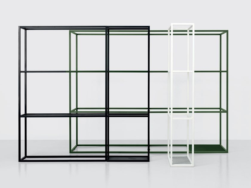 Open sectional metal shelving unit REGOLI by Kristalia