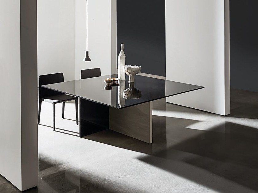 Square wood and glass table REGOLO | Square table by Sovet italia