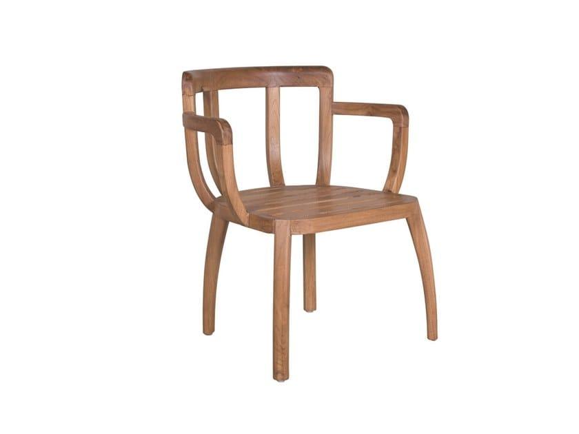 Garden teak easy chair with armrests REMIX | Teak easy chair by Il Giardino di Legno
