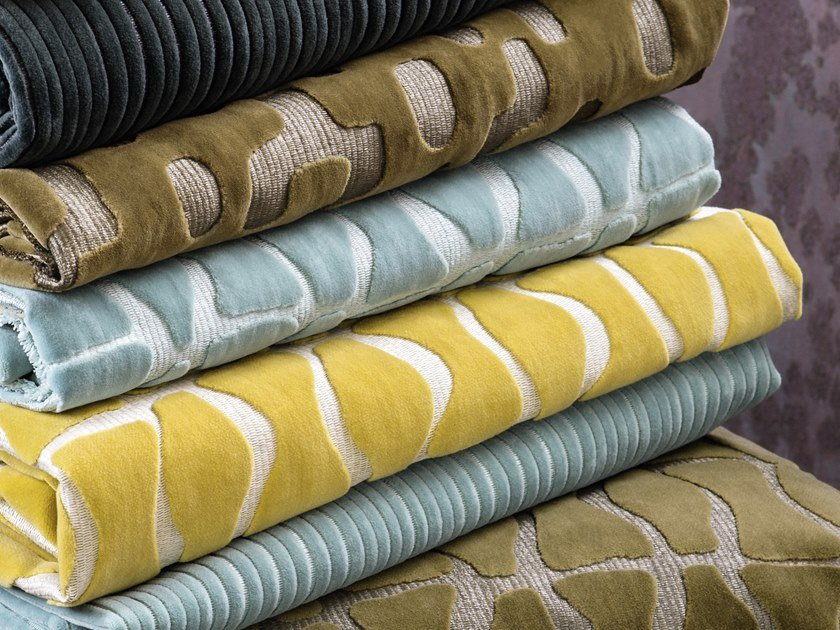Jacquard velvet fabric with graphic pattern RENDEZ-VOUS - NISYROS by Élitis