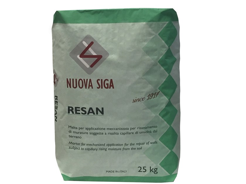 Renovating and de-humidifying additive and plaster RESAN by Nuova Siga