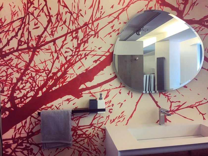 Fire retardant Digital printing wallpaper with floral pattern RESPIRI by Tecnografica
