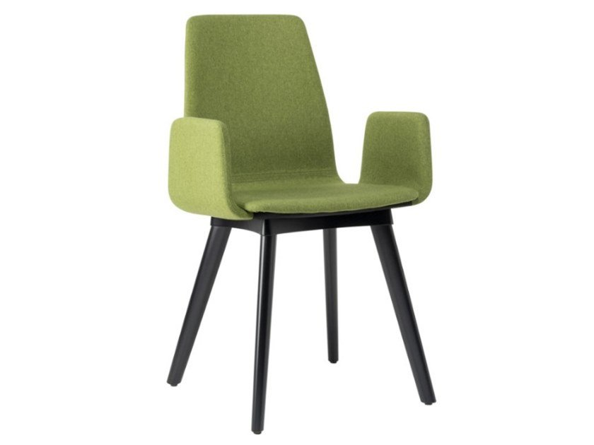 Fabric chair with armrests and beech legs TECLA SB01 BASE 10 by New Life