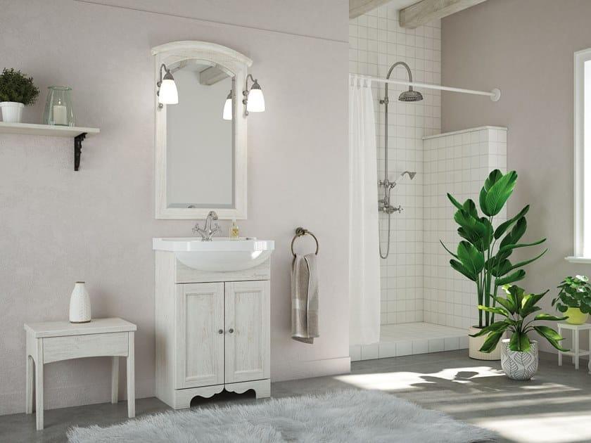 Floor-standing vanity unit with doors with mirror RETRÒ 01 by LEGNOBAGNO