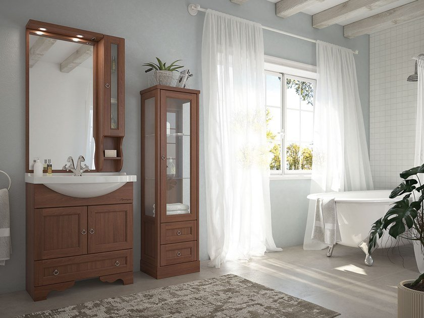 Floor-standing vanity unit with mirror RETRÒ 02 by LEGNOBAGNO