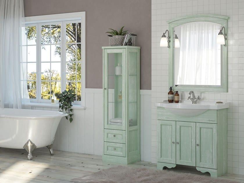Floor-standing vanity unit with doors with mirror RETRÒ 03 by LEGNOBAGNO