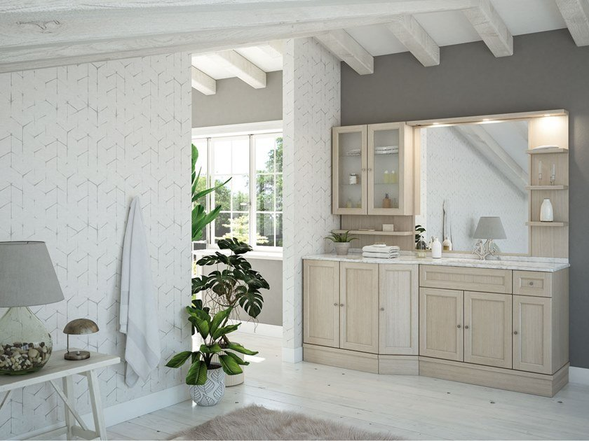 Floor-standing oak vanity unit with mirror RETRÒ R217 by LEGNOBAGNO