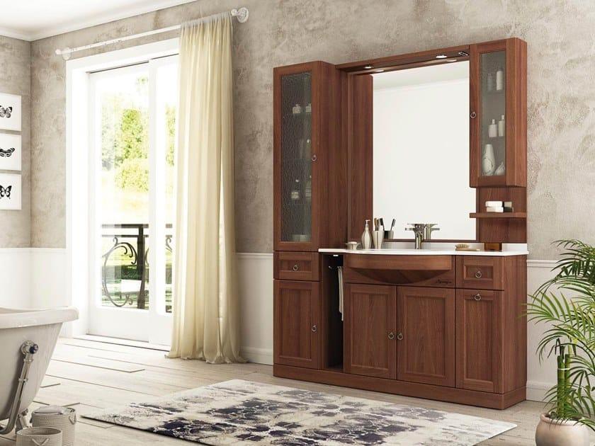 Floor-standing vanity unit with mirror RETRÒ R208 by LEGNOBAGNO