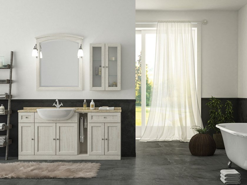 Floor-standing vanity unit with mirror RETRÒ R210 by LEGNOBAGNO
