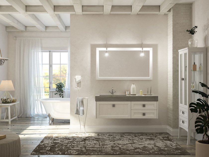 Lacquered wall-mounted vanity unit with mirror RETRÒ R211 by LEGNOBAGNO