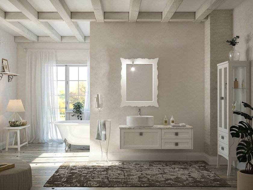 Lacquered wall-mounted vanity unit with mirror RETRÒ R212 by LEGNOBAGNO