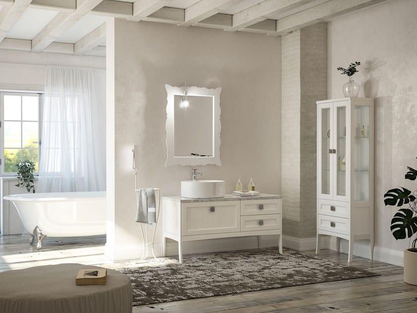 Floor-standing vanity unit with mirror RETRÒ R213 by LEGNOBAGNO