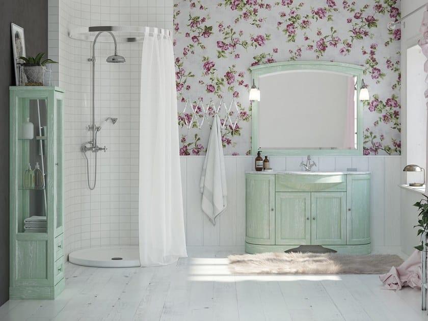 Floor-standing vanity unit with mirror RETRÒ R214 by LEGNOBAGNO