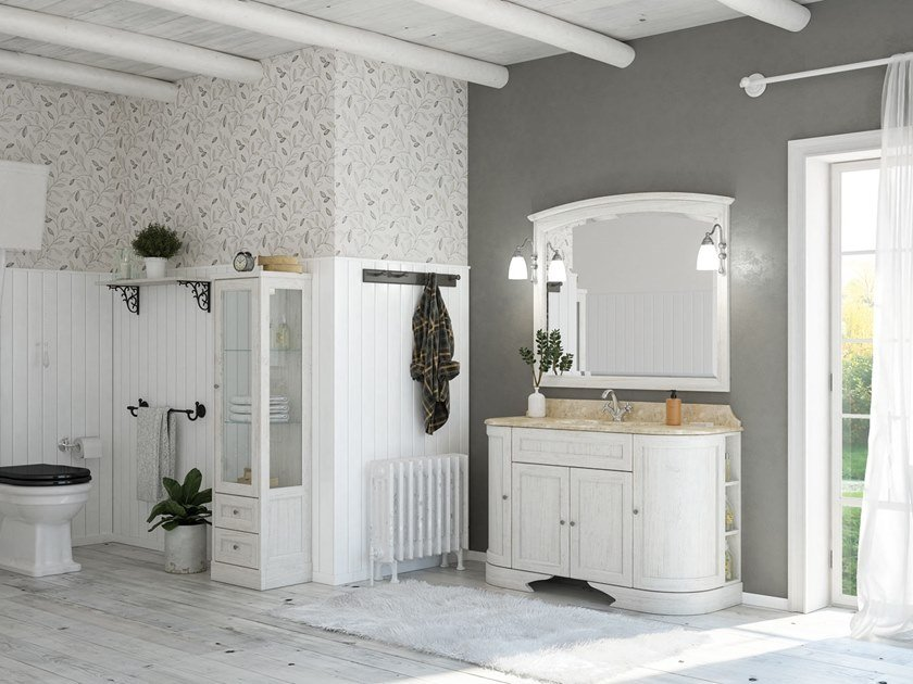 Floor-standing vanity unit with mirror RETRÒ R215 by LEGNOBAGNO