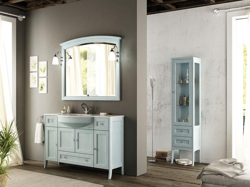 Floor-standing vanity unit with mirror RETRÒ RC01 by LEGNOBAGNO