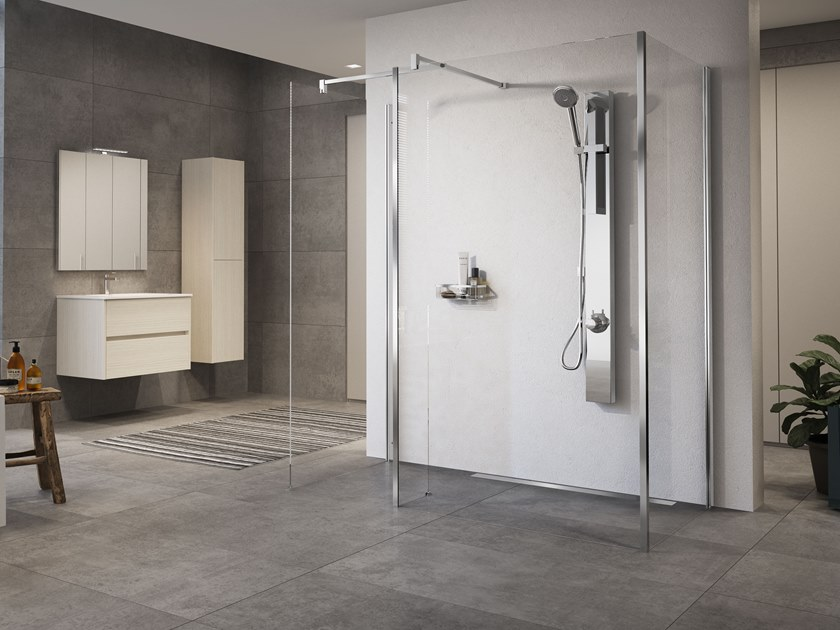Wall-mounted multifunction stainless steel shower panel REVIF by NOVELLINI