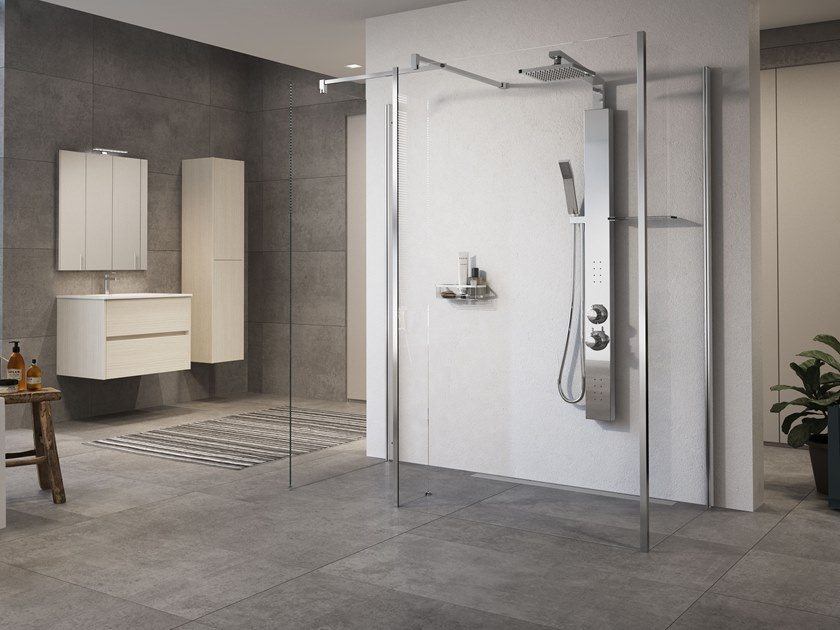 Wall-mounted multifunction stainless steel shower panel REVIF PLUS by NOVELLINI