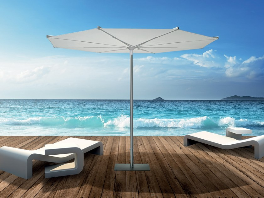 Round powder coated aluminium Garden umbrella REVO 3 by Scolaro Parasol