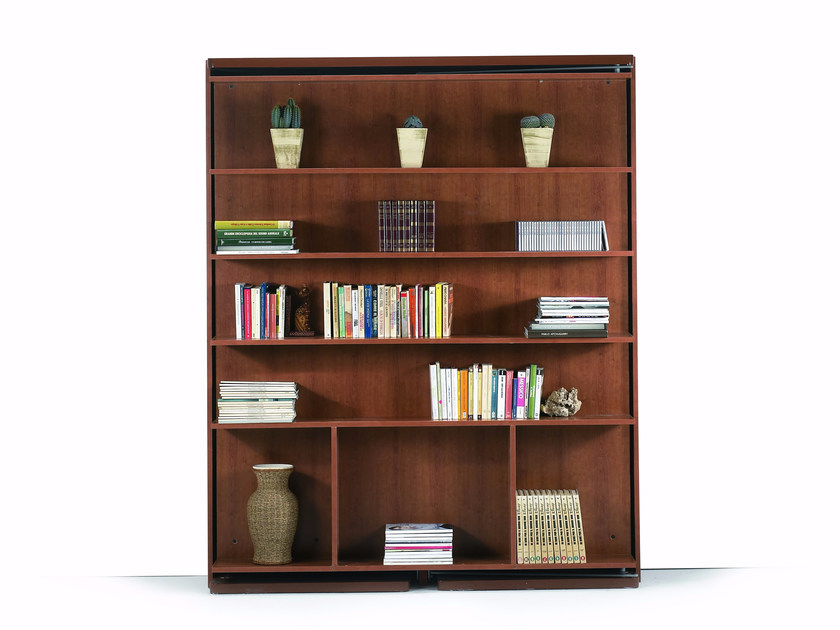 Swivel bookcase with fold-away bed REVOLVING DOUBLE BED by Mobilspazio