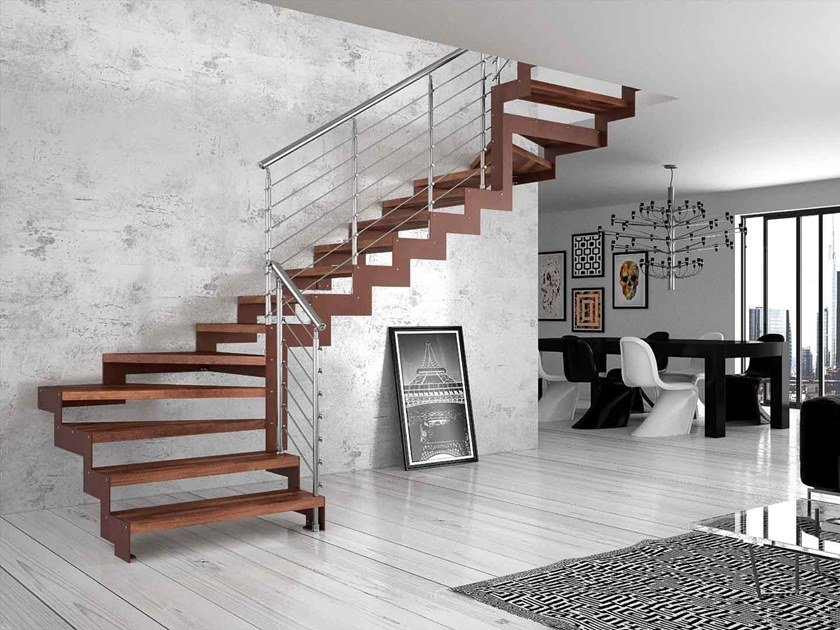 Wooden Open staircase with lateral stringers REXAL CHROME by MOBIROLO