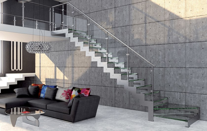 Glass and steel Open staircase with lateral stringers REXAL GLASS by MOBIROLO