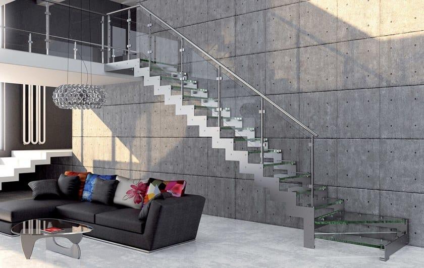 Scala a giorno in acciaio e vetro con cosciali laterali REXAL GLASS by MOBIROLO
