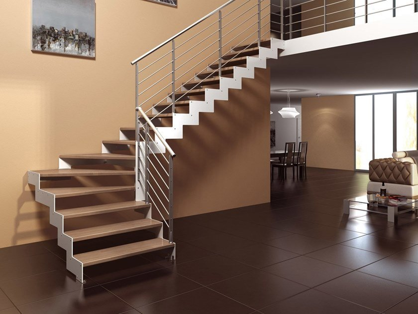 Wooden Open staircase with lateral stringers REXAL RG by MOBIROLO