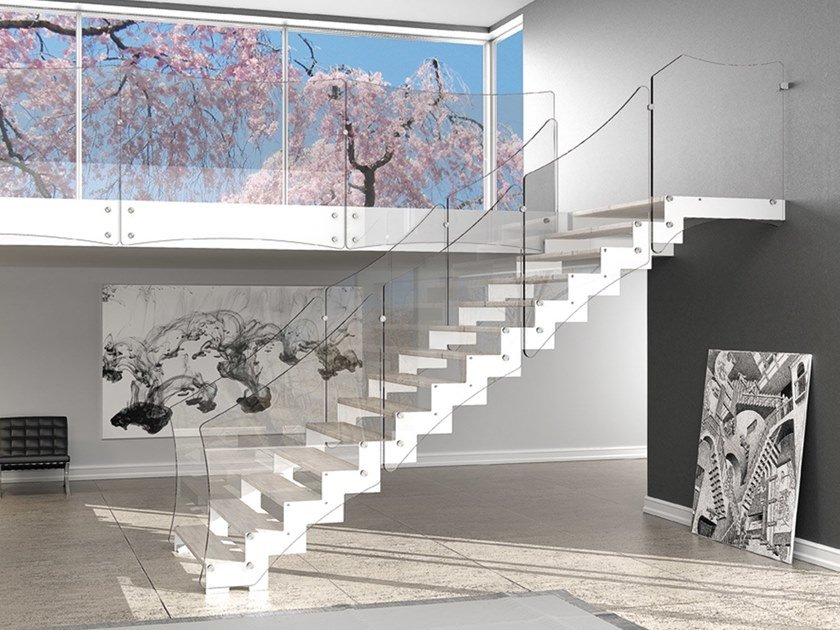 Glass and steel Open staircase with lateral stringers REXAL XC by MOBIROLO