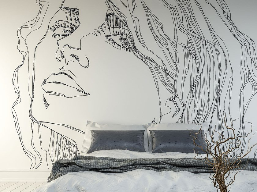 Rubber washable Digital printing wallpaper RI-TRATTO by Tecnografica Italian Wallcoverings